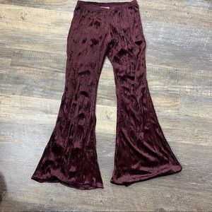 Band of Gypsies Cozy Purple Velvet Wide Leg Pants